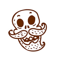 Hand Drawn Skull with a Moustache and Beard vector