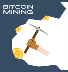hand with glove use pickaxe digging for bitcoin vector image