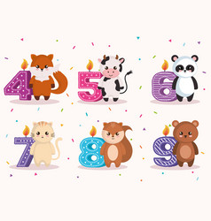 happy birthday card with group of animals vector image