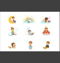 Happy kids dreaming and fantasizing cartoon vector