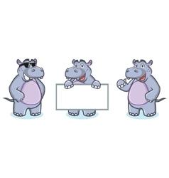 Hippo Mascot happy vector image