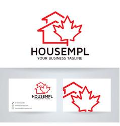 house maple logo design vector image