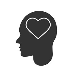 human head with heart shape inside glyph icon vector image