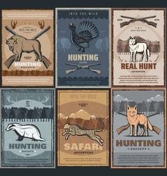 hunter club hunting season adventure wild animals vector image