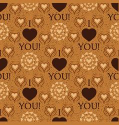 i love you text heart sharp seamless vector image