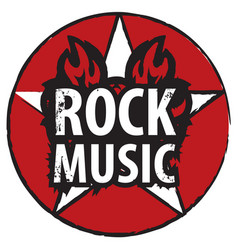 Inscription rock music in the fire vector