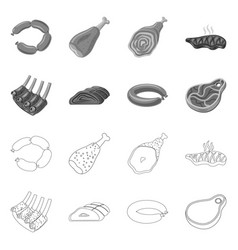 Isolated object of meat and ham sign set of meat vector