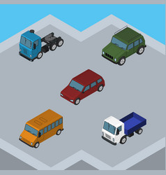 isometric automobile set of lorry truck autobus vector image