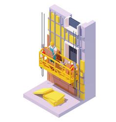 Isometric building facade insulation vector
