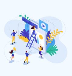 Isometric concept teamwork vector