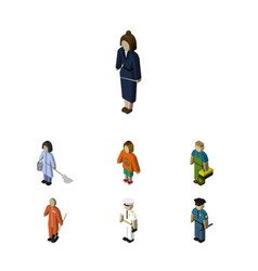 Isometric human set of officer housemaid plumber vector