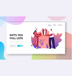 loving man prepare gift to woman website landing vector image