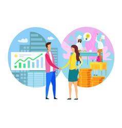 Man woman handshake financial partnership business vector