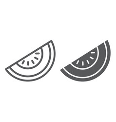melon line and glyph icon fruit and vitamin vector image