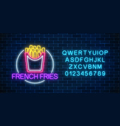 neon glowing sign of burger in circle frame with vector image
