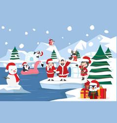 North pole arctic landscape christmas background vector