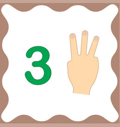 Number 3 three educational card learning counting vector