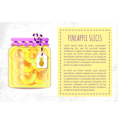 Pineapple slices canned preserved food poster vector