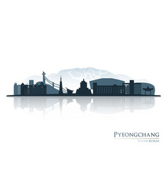 pyeongchang skyline silhouette with reflection vector image