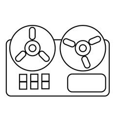 reel tape recorder icon outline style vector image