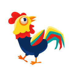 rooster cartoon character walking around cock vector image