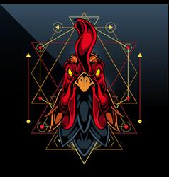 Rooster esport mascot logo design vector