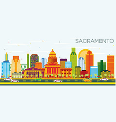 Sacramento usa skyline with color buildings and vector