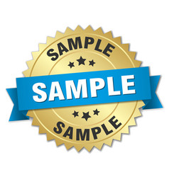 Sample 3d gold badge with blue ribbon vector