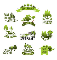 save earth planet ecology protection icons vector image