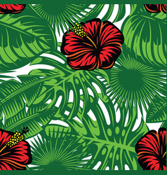 seamless pattern with colored tropical leaves and vector image