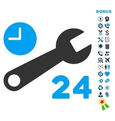 Service Hours Flat Icon with Bonus vector image