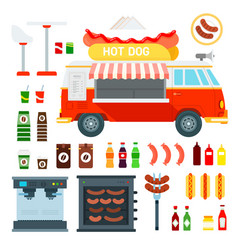 set city food truck hop dog icons flat vector image