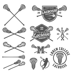 set lacrosse design elements vector image