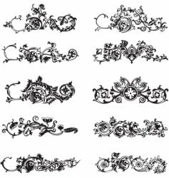 set of black decorative elements vector image