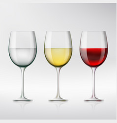 set of glasses with red and white wine and water vector image