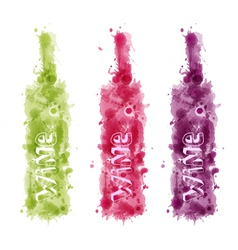 Set of Watercolor wine bottles vector image