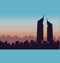 Silhouette of building hotel on arab scenery vector