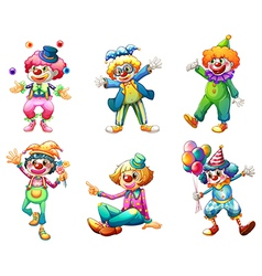 Six different clown costumes vector image