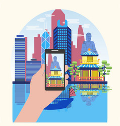 Smart phone taking photo of attractive hong kong vector
