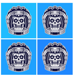 Spaceman skull modern space print monochrome vector