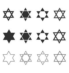 star of david shape icon set in black flat and vector image