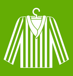 Striped pajama shirt icon green vector