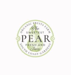 sweetest pear farm badge or logo template vector image