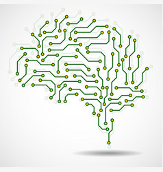 Technological brain circuit board vector