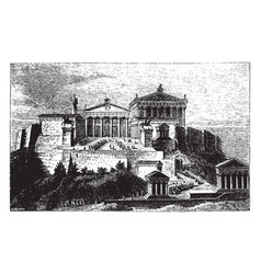 The acropolis or ancient architecture vintage vector