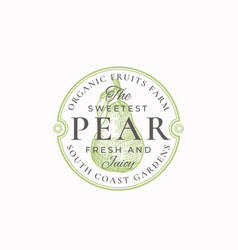 the sweetest pear farm badge or logo template vector image