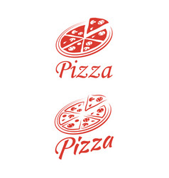 two logo pizza on a white background vector image
