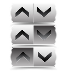 Up down arrow buttons with pressed pushed vector