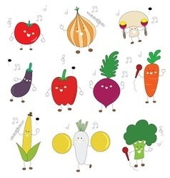 Veggies color cute character with music instrument vector