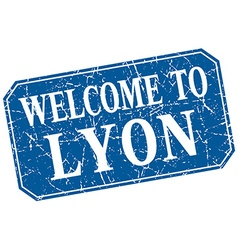 Welcome to Lyon blue square grunge stamp vector